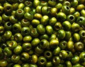 Olive Green Wooden Beads 4mm - Over 200 - 3x4mm Wood Beads Rondelle (WBD0007)