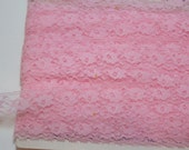 RESERVED FOR KIM Pink Lace, Vintage Baby Pink Lace Sewing Trim 3/4 inch wide