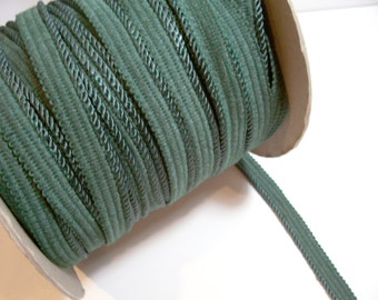 Green Cord, Pine Green Braided Lip Cord Trim 3/4 inch wide x 3 yards, Cord is 1/8 inch