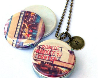 Seattle Locket Necklace, Starbucks Coffee Gift, Pike Place Market, Artist Photography Jewelry, Magnetic, Recycled by Polarity & Myan Soffia