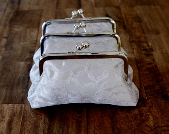 7 Personalized Silver Grey Lace Clutches for Ashley