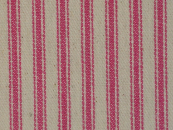 Vintage Inspired Petal Pink Woven Cotton Ticking Stripe Material 1 Yard