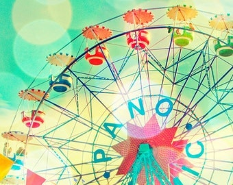 Carnival photography, A4, European, nursery art, turquoise photo, ferris wheel, wall art, baby, circus photograph