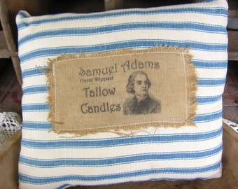 Primitive Pillow, Ticking,  Prim Label, Vintage Style, Blue and White, Navy,  Farmhouse, Cottage Chic