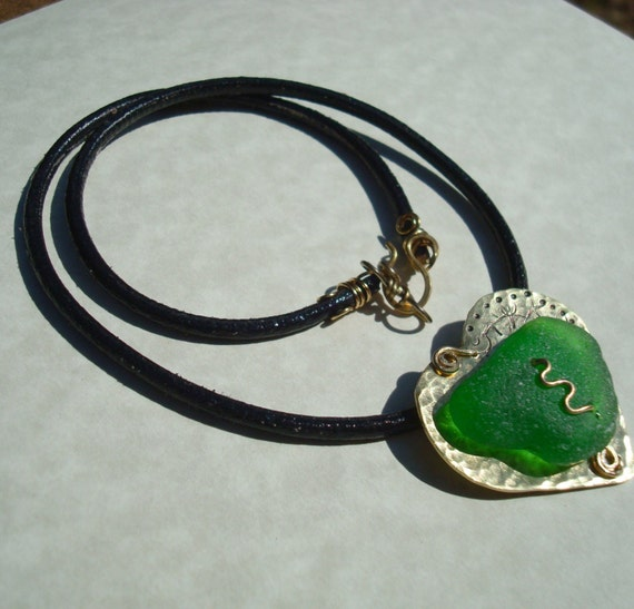 Sea Glass Necklace -Hammered Heart -Green Seaglass Jewelry