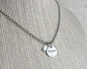 Children's Name Charm & Chain w/Pearl. Mini Small Round Disc, Customize, Personalize, Monogram, Love, Initials, Monogram, Sweet Tag,Antiqued