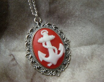 Red and White Navy Anchor Cameo Necklace