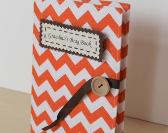 orange tangerine chevron personalized photo album brag book multiple color options