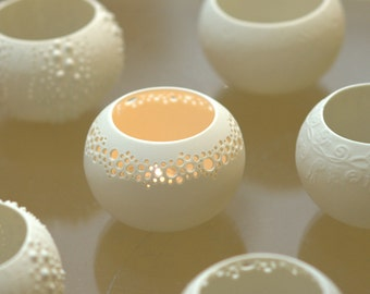 Porcelain candle holder. Contemporary ceramic lighting. Tea light Delight  N.1. Designed and crafted by Wapa Studio.