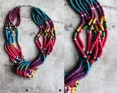 vintage. statement necklace. rainbow. colorful. bright. beaded. wood. wooden.