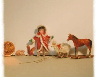 Dollhouse Miniature, Victorian Doll and Toy Kit, Fabric panel kit.