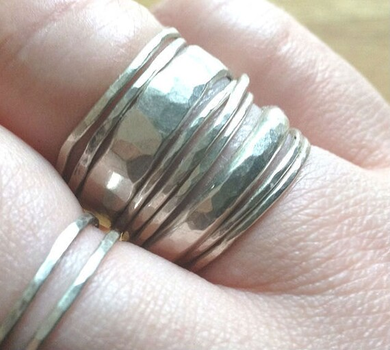 CHRISTMAS in JULY SALE Silver Stacking Rings - Build Your Own - Delicate Sterling Silver - Hand Forged - Fresh for Fall and Autumn