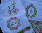 Personalized  bodysuit, burp cloth and bib shower gift set for baby princess - pink and green