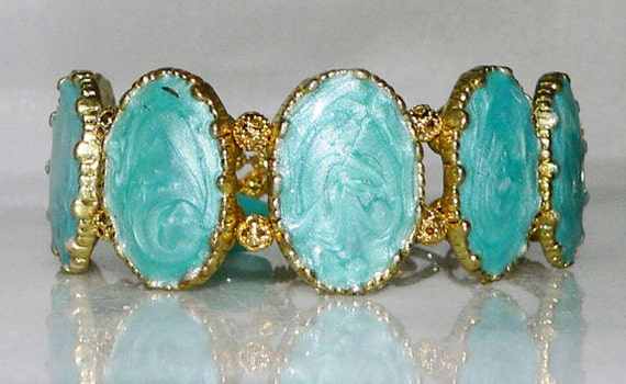 Blue Teal Bracelet Acrylic Slider Gold Tone Cuff Jewelry 1393