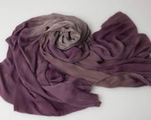 Smoke and plum oversized silk ombre scarf/shawl dyed with all natural plant dyes.