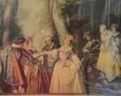Antique Framed Print of European 1500's Men Women Courting Outdoors Near Gazebo