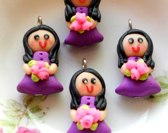 4pcs Lady Violet - Doll Charm Collection