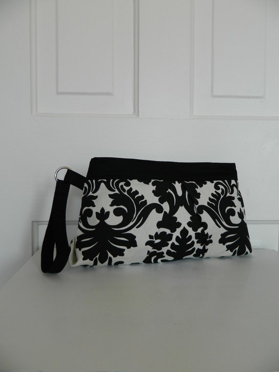 Black and Cream Damask Print Oversized Wristlet Clutch