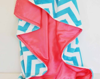 ON SALE / Baby Blanket - Aqua Chevron minky with coral satin .....Comforting fabrics for baby