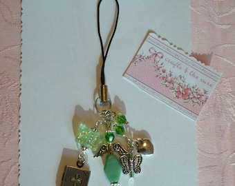 Mint Green, Angel and Butterfly Cell Phone/iPod Charm,Bling