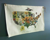 circa 1900- vintage state flower wall map -education map = pictorial map