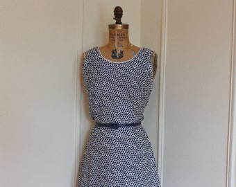 Vintage 1960s Dark Navy Blue and White Leaf Print SUN DRESS - size large