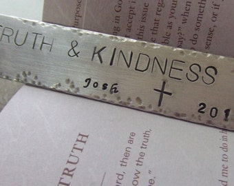 Custom Bookmark, Personalized Bookmark, Handstamped Bookmark, Quote Bookmark, Reader Gift, Religious Bookmark, Metal Bookmark, Scripture