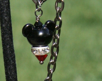 Anklet Black Gunmetal N Lampwork Mickey Mouse Style Disney Inspired DeSIGNeR Anklet Magical Accents