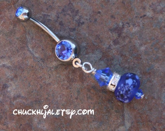 Cobalt Blue Etched Spotted SRA Lampwork n Rhinestones DeSIGNeR Belly Button Ring So Pretty and Feminine