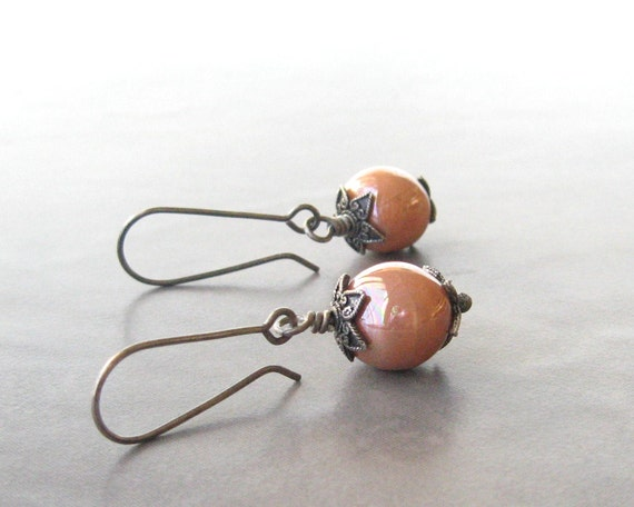 peach kazuri earrings, boho dangle earrings, rustic dangle earrings, sterling ear wires