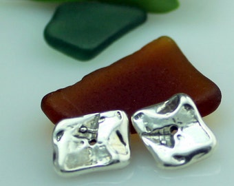 Spacer Bead TWO Sterling Silver Rectangular