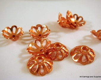 10 Copper Bead Cap Flower w Cutouts 11x4mm fits 10-12mm Bead - 10 pc - 6015-11