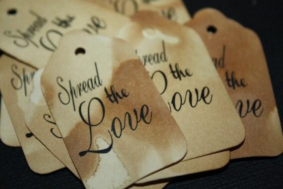 "Spread the Love 100 SMALL 2"" Wedding Favor tag"