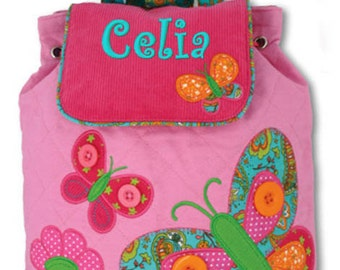 Personalized Backpack Butterfly Stephen Joseph Quilted Monogrammed
