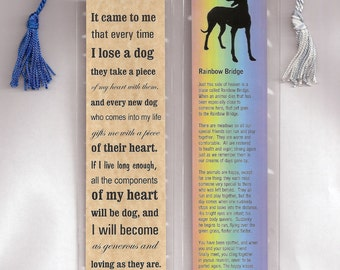 SueBero Set of 2 Bookmarks in Plastic Sleeves with Tassles Greyhound Dog Rainbow Bridge