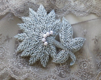 Flower Beaded Applique In Gray And Pearls