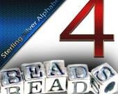 4 Sterling Silver Alphabet Block Bead 4.5mm