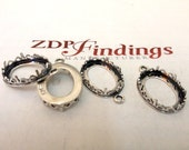 4pcs x Oval 16x12mm Quality Cast Bezel Cup For Setting Antique (Oxidized) Sterling Silver 925 (9245)