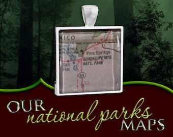 Guadalupe Mountains National Park Map Pendant