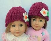 Crochet Doll Hat Soft Maroon Hat with felt flower, Fits 18 inch doll or American Girl Doll