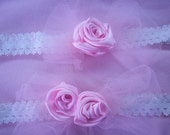 Pair of Handmade Garters, Pink Roses, Stretch Lace