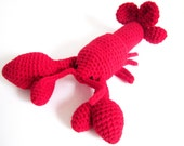 Marine Amigurumi Toy: Bright and Textured Lobster Doll in Red Washable Yarn - Crocheted and Designed by The Silver Hook