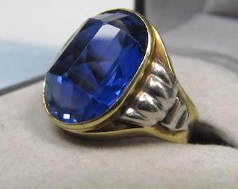 Blue Skies 18 Karat Yellow and White Gold Art Deco Sapphire Ring