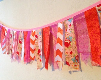 Orange and Pink Print Birthday/Shower/Party Banner, Bunting