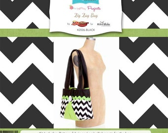 "Riley Blake Designs Brand ""Sew Together"" Kit. Zig Zag Bag Black"