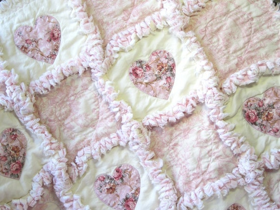 baby girl quilt shabby roses applique hearts rag quilt cottage. Black Bedroom Furniture Sets. Home Design Ideas