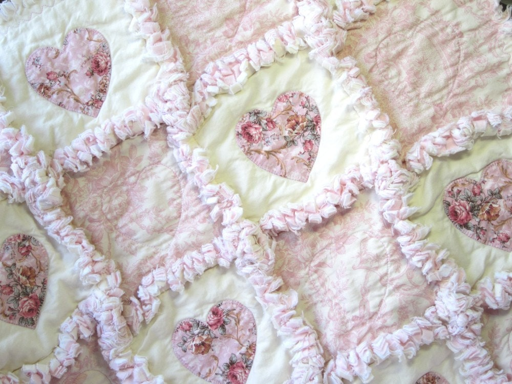 Baby Girl Quilt Shabby Roses Applique Hearts Rag Quilt Cottage