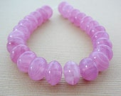 Pink  Czech Glass Beads, Rondel, Spacer mini strand