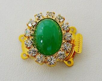 3 Strand Clasp, Jade Green Oval Center Clear Rhinestones Czech Jewelry clasp, bracelet closure