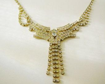 Vintage .. Rhinestone Bib Necklace, Clear Rhinestones, Statement, Wedding, Vintage Bride, Bridal Party